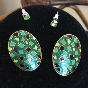 MACY'S Green and Gold Earrings Bundle